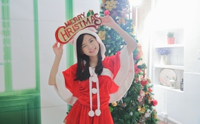Picture girl, smile, background, holiday, tree, Asian