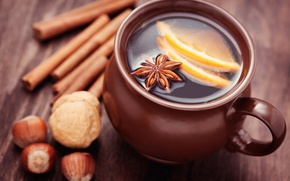 Picture winter, sticks, Cup, citrus, drink, nuts, cinnamon, spices, star anise, Anis