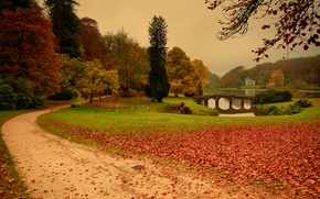 Picture autumn, leaves, trees, Stourhead, Lies Thru a Lens