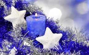 Wallpaper stars, decoration, blue, holiday, star, new year, candle, tinsel, candle, asterisk, happy new year, Christmas