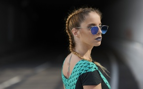 Picture summer, girl, face, style, hair, glasses