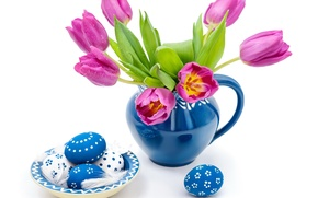 Picture Easter, blue, eggs, spring, easter, tulips, drops