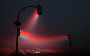 Picture fog, road, traffic light, night