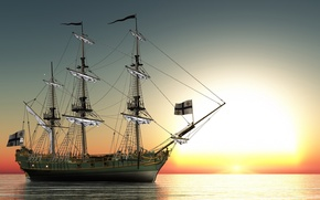 Picture sea, surface, Ship, Sailboat, Sunrises and sunsets