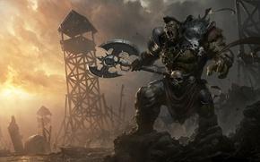 Picture fantasy, warrior, art, armor, axe, Orc