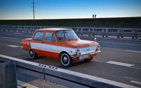 Picture road, retro, background, USSR, car, eared, Zaporozhets, ZAZ