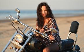 Picture summer, look, girl, face, hair, shirt, bike