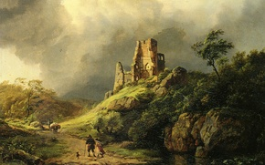 Picture clouds, stream, stones, people, rocks, storm, picture, the ruins, travelers, Koekkoek Barend Cornelis