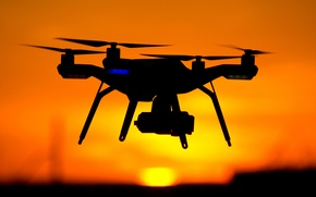 Picture red, yellow, sunset, drone, shades