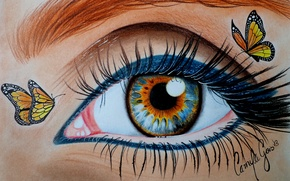 Picture look, butterfly, eyes, eyelashes, makeup, painting, eyeliner