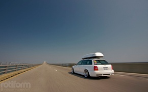 Picture road, Audi, Audi, white, tuning, stance, rotiform
