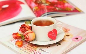 Picture love, flowers, tea, heart, roses, petals, Cup, love, rose, journal, heart, flowers, cup, drink, petals, ...