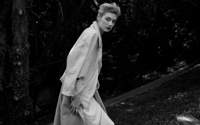 Picture street, model, actress, hairstyle, blonde, black and white, coat, Elizabeth Debicki, Elizabeth Debicki, The Last, …