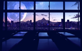 Picture the city, the moon, the evening, classroom