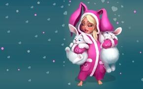 Picture toy, art, girl, Bunny, children's, Scops owl