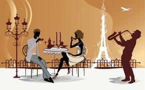Picture Paris, Cafe, Eiffel tower