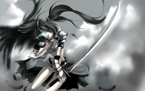 Picture girl, weapons, katana, art, vocaloid, hatsune miku, Vocaloid, yykuaixian, Black Rock Miku