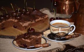 Wallpaper cherry, coffee, pie