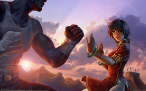 Picture flower, girl, the sun, sunset, figure, battle, China, art, battle of the great wall