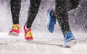 Wallpaper shoes, jogging, running, rain
