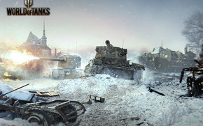 Picture winter, destruction, tanks, World of tanks, World of Tanks