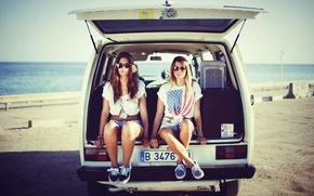 Picture beach, vintage, sunset, brunette, blonde, glasses, camper