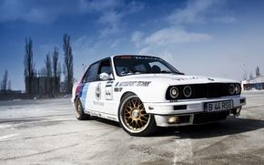 Picture white, the sky, BMW, BMW, white, Playground, E30, Sedan, 3 Series