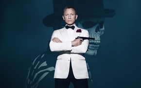 Wallpaper Action, Pistol, Face, Boy, Roses, Costume, White, Gun, Red, Agent, James Bond, Walther, Universal Pictures, ...