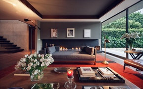 Picture fireplace, Interior, design furniture
