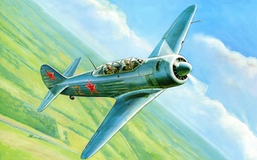 Picture As-11, figure, training, art, the sky, Soviet, fighter
