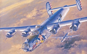 Picture war, art, painting, aviation, ww2, american bomber, Consolidated B-24 Liberator