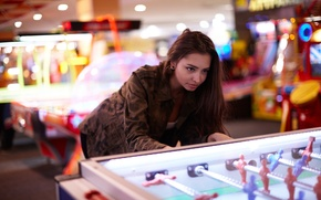 Wallpaper girl, face, hair, the game, jacket, entertainment, Darina, table football