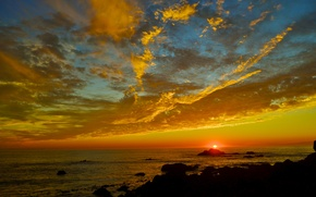 Picture sea, the sky, the sun, clouds, sunset, stones, shore