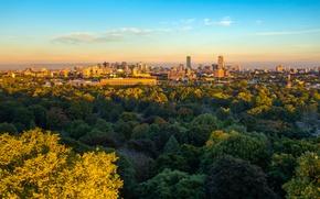 Picture autumn, the sun, trees, the city, coast, home, Bay, USA, Boston