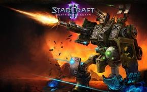 Picture fire, gun, robot, Starcraft 2, heart, Heart of the swarm, terran