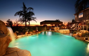 Picture house, stones, palm trees, waterfall, pool, Jacuzzi, pool, sunbeds, sunset.