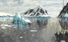 Picture landscape, picture, Edward Seago, The entrance to the Strait of Lemaire. Antarctica