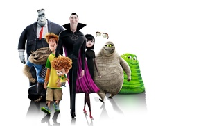 Picture cartoon, white background, characters, Frankenstein, Dracula, Mavis, Hotel Transylvania 2, Transylvania 2, Dennis, Jonathan