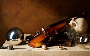 Picture Skull, Knife, Violin