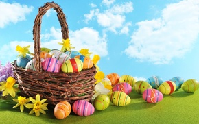 Picture flowers, basket, eggs, Easter, flowers, spring, Easter, eggs