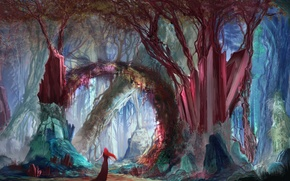 Picture forest, girl, fantasy, art, Manu Micheler