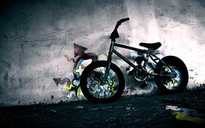 Picture bike, wall, graffiti, BMX