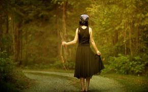 Picture road, forest, girl, the situation, bow, arrows