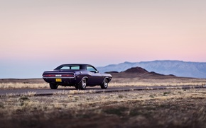 Picture road, mountains, wheel, back, Dodge, Challenger, twilight, tail lights