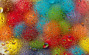 Picture glass, water, drops, balls, colorful, rainbow, glass, colorful, rain, water, drops
