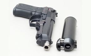 Picture gun, white background, muffler, beretta