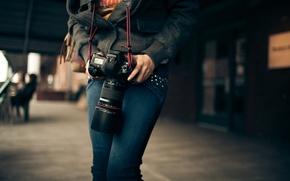 Picture macro, Girl, the camera, Canon
