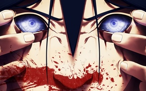 Picture eyes, face, blood, anime, art, naruto, male, naruto, uchiha powers