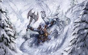 Wallpaper battle, dragon, winter, warrior, fantasy, runelords