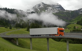 Picture Nature, Clouds, Mountains, Bridge, Grass, Orange, Truck, Scania, Tractor, The trailer, Scania, R500, Topline, Refrigerator